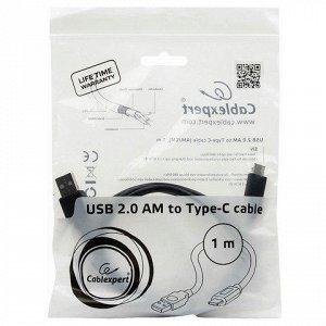 Кабель Type-C-USB 2.0 1м CABLEXPERT, для подкл.порт. устройс
