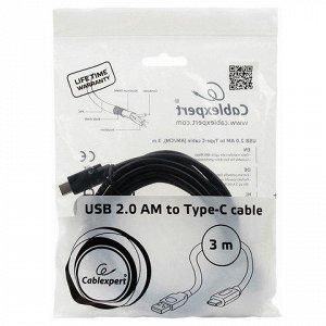 Кабель Type-C-USB 2.0 3м CABLEXPERT, для подкл. порт. устрой