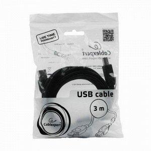 Кабель USB 2.0 AM-BM 3м CABLEXPERT, 1 фильтр, для принтеров,