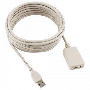 Кабель-удлинитель USB 2.0 4,8м CABLEXPERT, AM-AF, для подклю