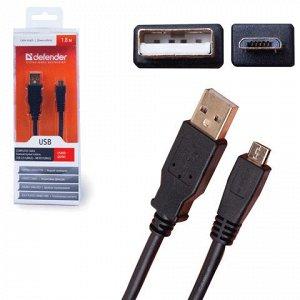 Кабель USB-microUSB 2.0 1,8м DEFENDER, для подключения порта