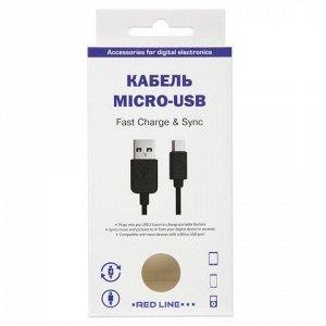 Кабель USB-microUSB 2.0 1м RED LINE, для подключения портати