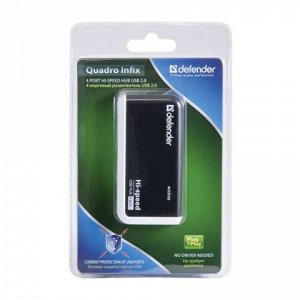 Хаб DEFENDER QUADRO INFIX, USB 2.0, 4 порта, порт для питани