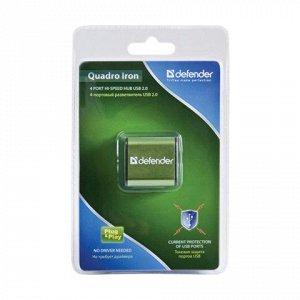 Хаб DEFENDER QUADRO IRON, USB 2.0, 4 порта, алюмин. корпус,