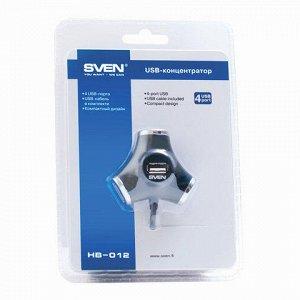 Хаб SVEN HB-012, USB 2.0, 4 порта, кабель 1,2 м., черный, SV