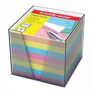 Блок для записей ERICH KRAUSE в подставке прозрачной, куб 9*