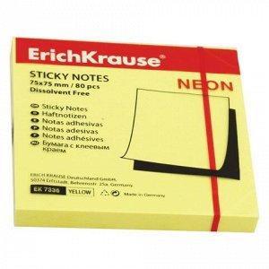 Блок самоклеящ. (стикер) ERICH KRAUSE НЕОН 75х75 мм 80 листо