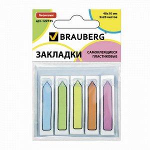 Закладки клейкие BRAUBERG НЕОНОВЫЕ пластиковые,48*10мм,5*20л