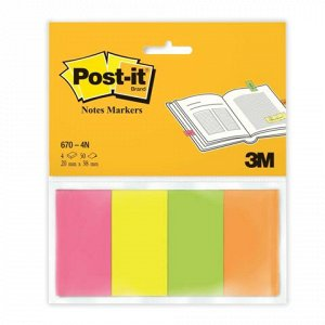 Закладки клейкие POST-IT Professional, бумажные, 20 мм, 4 цв
