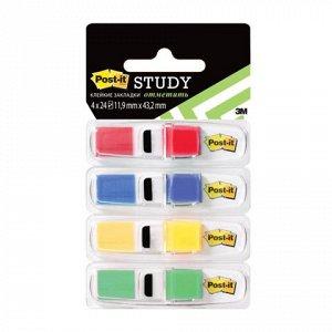 Закладки клейкие POST-IT Study , пластиковые, 12 мм, 4 цвета
