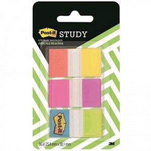 Закладки клейкие POST-IT Study, пластиковые, 25 мм, 6 цв.*10