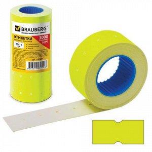 Этикет-лента 21*12мм прямоугольная, желтая, КОМПЛЕКТ 5 рулон