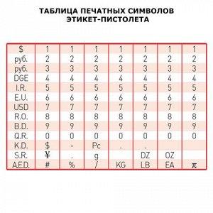Этикет-пистолет BRAUBERG 1-строч (цифры, знаки), 8симв, 22*1