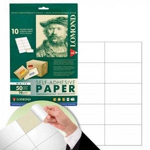 Этикетка самоклеящаяся LOMOND на листе А4, 10 этикеток, 105х