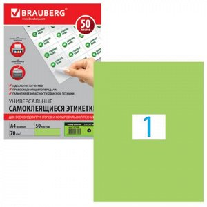 Этикетка самоклеящаяся А4, 1 этикетка 210х297мм, зеленая 70г