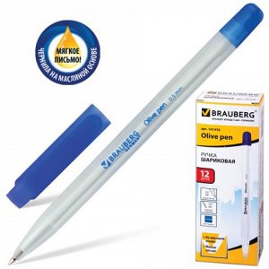 Ручка шариковая масляная BRAUBERG Olive Pen, корпус прозрачн