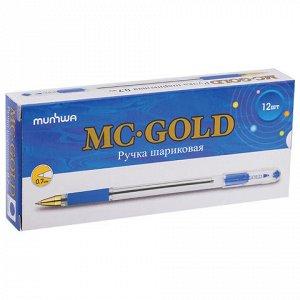 """Ручка шариковая масляная MUNHWA """"MC Gold"""", корпус тонир. син"""