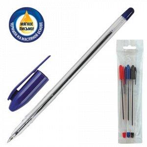 Ручки шариковые СТАММ, НАБОР 3шт, Vega, корпус прозрачный, 1