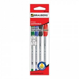 Ручки шариковые масляные BRAUBERG, НАБОР 4шт, Rite-Oil, 0,7м