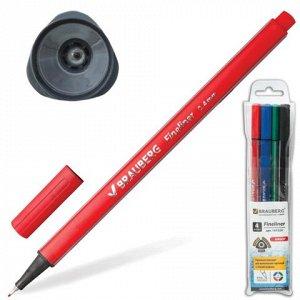 Ручки капиллярные BRAUBERG, НАБОР 4шт, Aero, трехгранные, ме