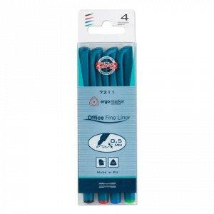 Ручки капиллярные KOH-I-NOOR, НАБОР 4шт, трехгранные, линия