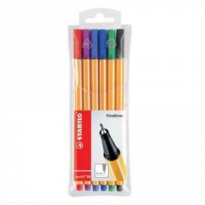 Ручки капиллярные STABILO, НАБОР 6шт, Point, 0,4мм, (голуб,