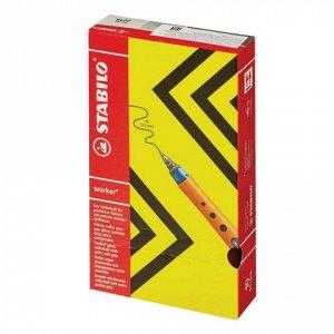 Ручка-роллер STABILO Worker, оранжевый корпус soft-touch, уз