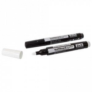 Маркер для цветной доски, круглый наконечник, 2-3 мм, белый,