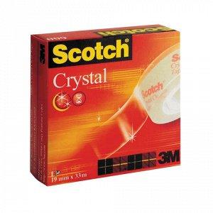 Клейкая лента19ммх33м канцелярская SCOTCH Crystal, прозрачна