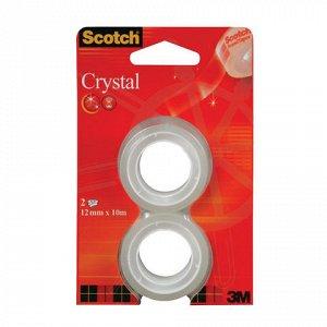 Клейкие ленты 19ммх7,5 м канцелярские SCOTCH Crystal, КОМПЛЕ