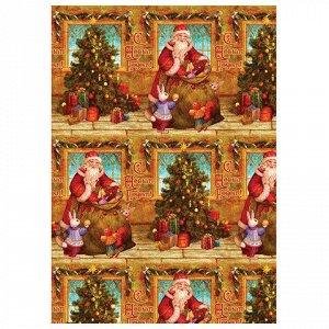 """Бумага упаковочная подарочная """"Дед Мороз и зайчики"""", 100х70с"""