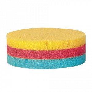 Мочалка-губка, цветной поролон слоями, 11г (в4*диам.11см) Кр