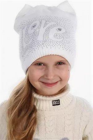 Белая  шапочка для девочки 48-52 размер