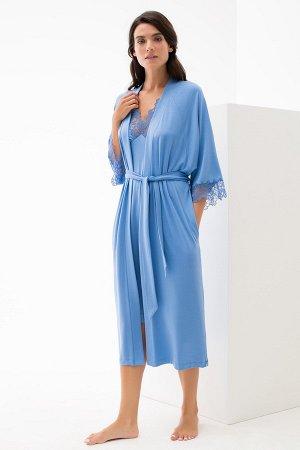 Халат женский из легкой ткани с кружевом 54-56 разм.