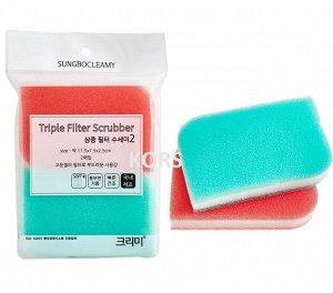 "SB ""CLEAN&CLEAR"" Губка д/мытья посуды №098 ""Triple Filter"" (11,5смх7,5смх2,5см) мягкая 2шт Корея"