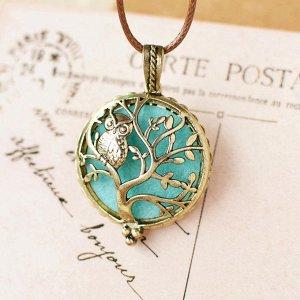 Кулон медальон сова на дереве