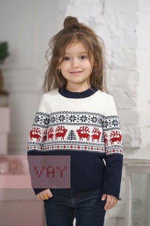 Джемпер детский. Цвет: 0189/10480/0703 т.синий/молоко/красны