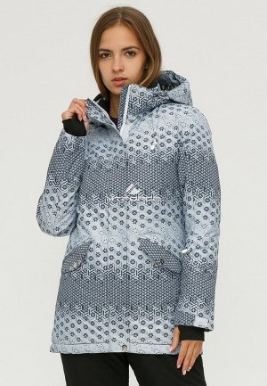 Женская зимняя горнолыжная куртка серого цвета