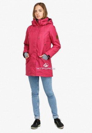 Куртка парка зимняя женская малинового цвета