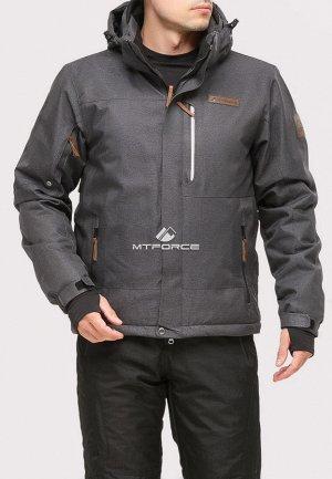 Мужская зимняя горнолыжная куртка темно-серого цвета