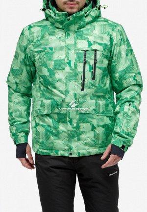 Мужская зимняя горнолыжная куртка зеленого цвета