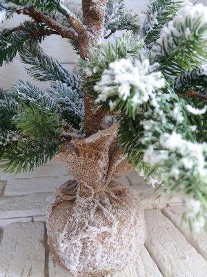 Елка 70 см в снегу, в джутовой основе