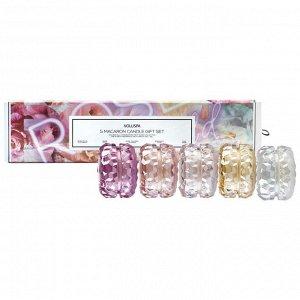 Подарочный набор 'Розы' в подсвечниках макарон / Macaron 5 candle gift set - roses