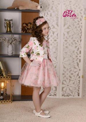 Платье дев. третьего слоя Глория роза принт