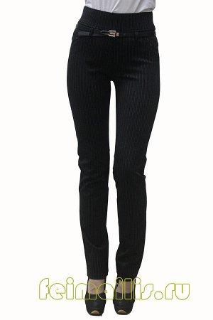 Слегка приуженные черные/ бел полоска брюки SS70414  рр 11(46)