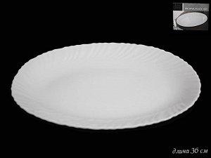 Овальное блюдо 36см. ТРИУМФ в под.уп.(х18)Опаловое стекло  Опаловое стекло