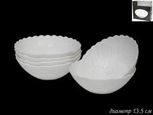 Набор из 6 салатников 13см. Ракушка в под.уп.(х16) Опаловое стекло  Опаловое стекло