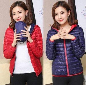 Ультралегкая женская ДВУХСТОРОННЯЯ куртка с капюшоном, цвет красный/фиолетовый
