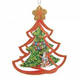 """Елка сувенирная """"С Новым Годом"""" Дед Мороз 20,5*25,1 см. пакет *"""