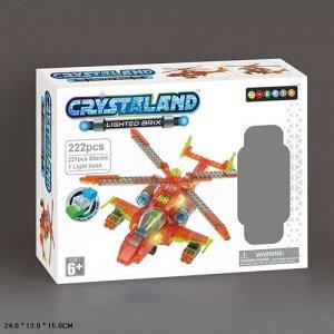 Конструктор кристальный 222 дет. Вертолет, кор. 24*13*15 см.